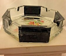 Vintage Lavorato A Mano Art Glass Octagon Shape Ash Tray Hand Painted Blossoms