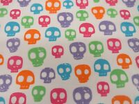 Halloween Skulls Head Craft Printed Poly Cotton Fabric Material Skeleton