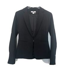 H&M Womens Blazer Black Front Hook Jacket Size 4 Fitted Smart Casual