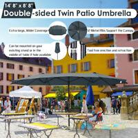 15ft Double-sided Twin Patio Umbrella Sun Shade Crank Outdoor Garden Market Grey