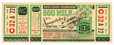 1 1936 INDIANAPOLIS INDY 500 AUTO RACING VINTAGE UNUSED FULL TICKET  laminated