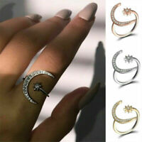 Women Crescent Moon and Tiny Star Adjustable Ring Jewelry Silver Gold Plated New