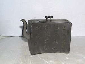 Antique Chinese Pewter encased Zisha Clay Teapot Marked