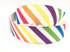 DIY 1 Yard 1'' 25MM Printed Grosgrain Striped Ribbon Hair Bow Sewing Ribbon