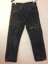 GUESS PREMIUM JEANS DISTRESSED DESTROYED STRAIGHT CUT Size 33x32