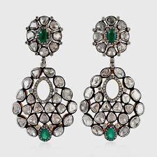 Natural Diamond Polki Rose Cut Diamond Emerald 18k Gold Sterling Silver Earrings