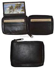 Zip around man's Leather Wallet, 9 Credit Card, ID holder men's Bifold Wallet BN