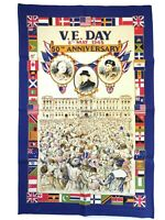Vintage Linen & Cotton V.E. DAY 8th May 1945 50th Anniversary Tea Towel B3.1