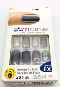 Kiss Glam Fantasy Full Cover Medium Length Gray Nails Special FX Squoval Shape