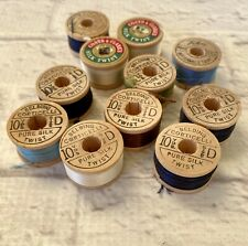 11 Spools Vintage Silk Buttonhole Twist Thread Belding Corticelli Coats Clarks
