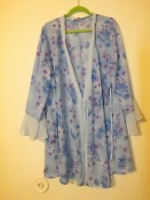 CACIQUE blue floral purple long sleeve vintage chiffon robe plus size 2X 18/20