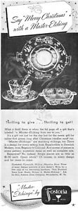 Fostoria Crystal Master Etchings Plymouth Willow Meadow Rose 1939 Magazine Ad