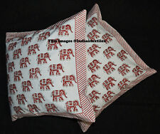 Block Print White Cushion Cover Pillow Cotton Handmade Home Decor New Set of 2