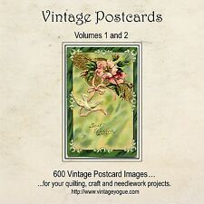 600 Vintage Postcard Images CD - circa 1910 - for Crazy Quilting or Needlework