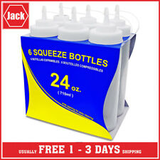 24 Oz Plastic Squeeze Squirt Condiment Bottles With Twist On Cap Lids 6 Pack NEW