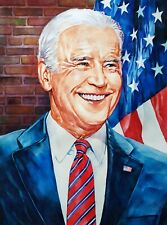 "11.69 × 15.75"" Joe Biden: optimistic about America ~ watercolor SIGNED and DATED"