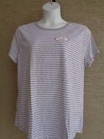 Womens Hanes Comfort Blend   S/S Crew Neck striped Tee Shirt XXL Gray/White