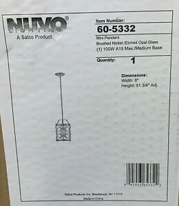 Nuvo 1 Light Mini Pendant Etched Opal Glass Brushed Nickel  60-5332