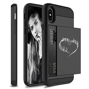 For Apple iPhone Shockproof Wallet Credit Card Hard Case Heart Love Music Notes