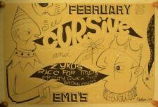Cursive Zykos Silkscreen Poster Signed Feb 5th Austin TX
