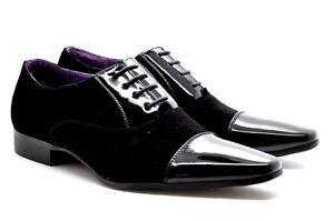 New Men's Italian Suede/ Patent Toe Black Formal Dress Suit Shoes UK SIZES 6-11