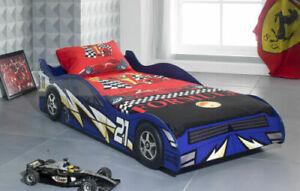 NEW SINGLE 3FT KIDS BLUE CAR BED  + MATTRESS BOYS & GIRLS CHILDREN'S NOVELTY