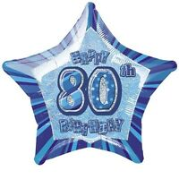 "20"" Blue Happy 80th Birthday Prismatic Foil Helium Balloon Party Decorations"