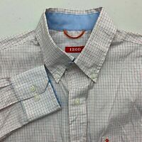 IZOD Button Up Shirt Mens S Orange White Black Long Sleeve Check Chest Pocket