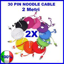 2X Cavi (Cavetto) Dati 2 Metri 30 PIN PIATTI PER  NOODLE per Iphone 4/4S