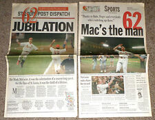 MARK McGWIRE St. Louis Post Dispatch Newspaper 09/09/98 62nd Home Run JUBILATION