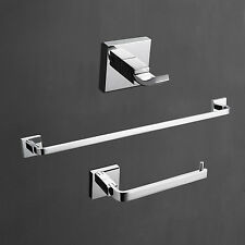 Set Towel Bar Robe Hook Bath Bathroom Hardware - Brass Chrome Finish