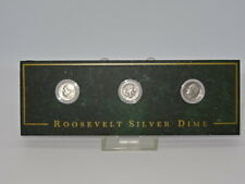 More details for collectable mounted set of 3 united states usa roosevelt silver dime coins