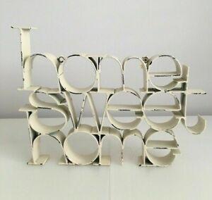 ❀ڿڰۣ❀ VINTAGE SHABBY CHIC Cream HOME SWEET HOME Wrought Iron PLAQUE SIGN ❀ڿڰۣ❀