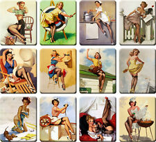 12 souvenir fridge magnets - Vintage Sexy Pin-up Girl - (2.6x 3.2 inch) - set 1