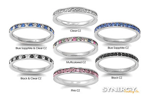 Stackable Eternity Band Stainless Steel Cubic Zirconia Promise Ring NEW