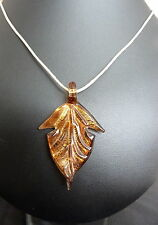 FASHIONABLE BROWN LEAF PATTERN GLASS PENDANT NECKLACE IN BOX