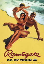 Ramsgate (3) Family on the Beach Southern British  Rail Travel  Poster Print