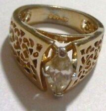 bague solitaire navette cristal diamant bijou vintage plaqué or 18K GE T.56