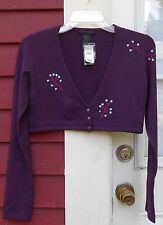 THE LIMITED NWT Purple Stretch Long Sleeve Button DOWN Embellished Shrug Medium