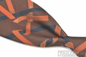 "HERMES Brown Blue Striped Orange Logo Ribbon Gift Woven Heavy Silk Tie - 3.375"""