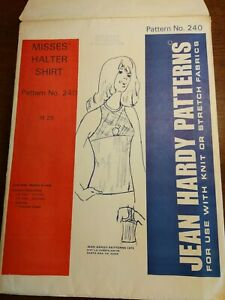 Jean Hardy Pattern misses Halter Top sewing pattern#240 size S M LG retro 70's