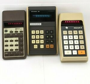 Vintage LED Calculator Lot National Semiconductor Texas Instruments Lloyd's