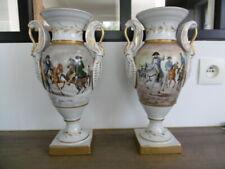 Ancienne paire de vases de style empire Napoléon en porcelaine signés Garnier