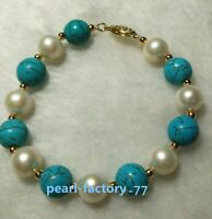 "turquoise 7.5-8"" AAA SOUTH SEA NATURAL White PEARL BRACELET 14K GOLD CLASP"
