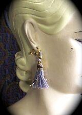 Breakfast at Tiffany's CLiP ON EaRRiNGS Holly Golightly Blue Purple Gold Tassels