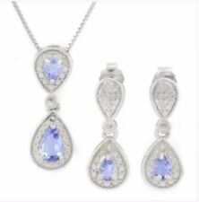 TANZANITE &  SILVER NECKLACE EARRINGS SET EARTH MINED STONES WHITE GOLD .77 CWT