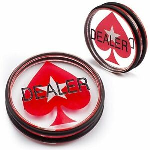 "Double-Sided Casino Grade Clear Acrylic Poker Dealer Puck Button, 3"" Diameter"