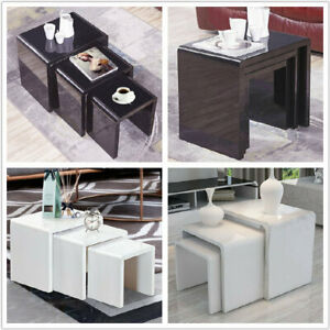 Nest of 3 Coffee Table Tea Table Side End Living Room Lounge Decor White Black