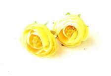 2 x Lemon Yellow Ranunculus Tea Rose Flower Hair Clips Bridesmaid Vintage 1446