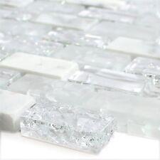 Glas Naturstein Mosaik Fliesen Gebrochen Weiss Effekt Brick